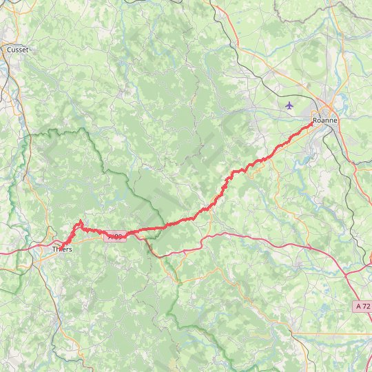 Roanne - Thiers GPS track, route, trail